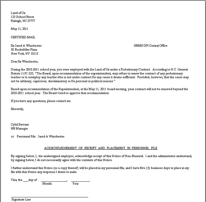 Hrms Communication Site Contract Non Renewal Letters