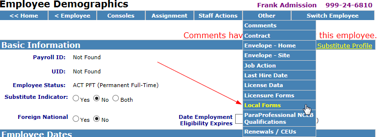 HRMS Communication Site - Local Forms Setup